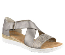 Sandaletten, Schimmer-Optik, Ornamente, Klettverschluss, Silber
