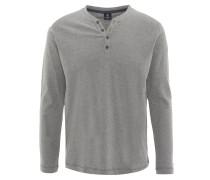 Langarmshirt, Zier-Knopfleiste, meliert, Grau