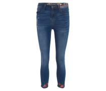 Jeans, Capri-Länge, bunte Stickereien, Pailletten-Details, Blau