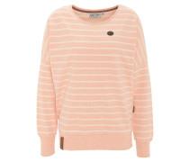 Sweatshirt, gestreift, Emblem, lockerer Schnitt, Apricot