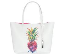 Shopper, Ananas-Print, Emblem, Weiß