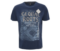 T-Shirt, Print, Aufnäher, Stickerei, Blau