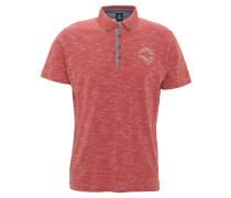 Poloshirt, leichter Stoff, meliert, Stickerei, Rot