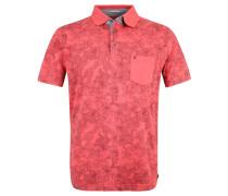 Poloshirt, floral, Brusttasche, Baumwolle, Rot