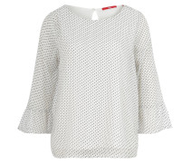 Blusenshirt, Chiffon, Punkte-Muster, Glitzer-Effekt, Weiß