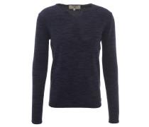 Pullover, meliert, Rollsaum, Blau
