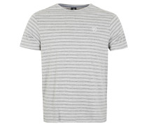 T-Shirt, Streifenmuster, Logoemblem, Grau