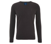 Pullover, V-Ausschnitt, figurbetonte Passform, Baumwolle, Grau