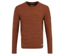 Pullover, Rundhals, meliert, Leder-Patches, Orange