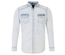 Freizeithemd, gebleichte Jeans-Optik