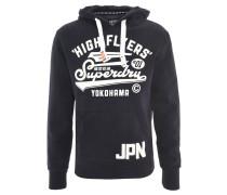 Sweatshirt, Kontrastprint, Marken-Aufnäher, Blau