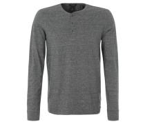 Langarmshirt, Knopfleiste, meliert, Baumwolle, Grau