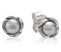 Ohrstecker, Perlen, grau, Silber 290157GP