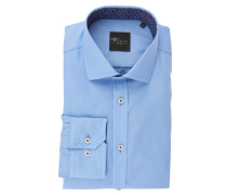 Businesshemd, Slim Fit, uni, Langarm, Blau