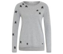 Pullover, Sternen-Muster, Metallic-Fäden, Grau