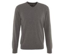 Pullover, Kaschmir-Anteil, V-Ausschnitt, Arm-Patch, Grau