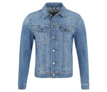Jeansjacke, Slim Fit, Pattentaschen, Used-Waschung, Blau