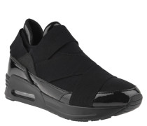 Sneaker, Lack-Elemente, Neopren, gekreuzte Gummibänder, Schwarz