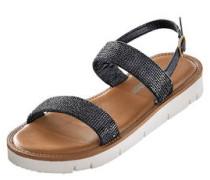 Sandale, Leder, Strass, Glitzer, Riemchen, flach, Plateau