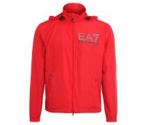 Jacke, verstaubare Kapuze, Logo-Print, uni, für Herren, Rot