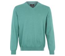 Pullover, Feinstrick, Baumwolle, V-Ausschnitt, Grün
