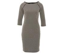 Kleid, knielang, strukturiertes Muster, 3/4-Arm, Schwarz