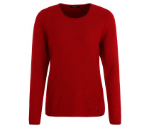 Pullover, Struktur-Strick, Rollkanten, Rot