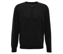Pullover, V-Ausschnitt, Wolle, Schwarz