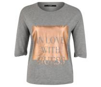 Shirt, 3/4 Arm, Metallic-Print, meliert, Grau