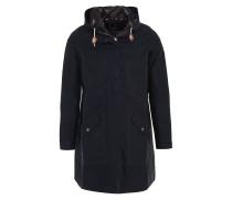 "Mantel ""Beachley"", Wachs-Design, uni, Kapuze, Taillenzug, Blau"