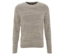 Pullover, Baumwoll-Mix, Strick, meliert, Grau