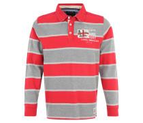 Poloshirt, Langarm, Streifen, Print, Rot