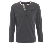 Langarmshirt, Henley-Stil, Streifen, Brusttasche, Marken-Stickerei, Grau