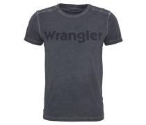 T-Shirt, Washed-Out-Optik, Logo-Print, Baumwolle, Schwarz