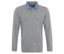Langarm-Poloshirt, Streifenoptik, Denimkragen, Grau