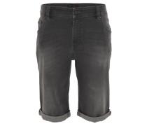 Jeans-Bermuda, kurz, Umschlag, Falten-Optik, Schwarz