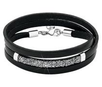 Armband mehrreihig Leder schwarz mit Swarovski