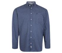 Freizeithemd, Button-Down-Kragen, Baumwolle, Punkte, Blau