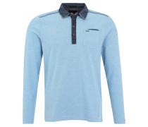 Poloshirt, Kragen in Jeansoptik, Brusttasche, Blau