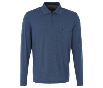 Poloshirt, Langarm, Streifen, Brusttasche, Blau
