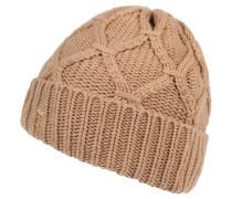 Mütze, Kaschmir-Anteil, Zopfmuster, Umschlag, für Damen