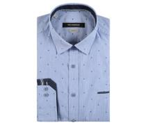 Buisnesshemd, shape fit, Baumwolle, Blau
