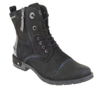 Boots, Leder, Reißverschluss, Metallic-Details, Schwarz