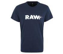 T-Shirt, Baumwolle, Logo-Print, Rundhals, Blau