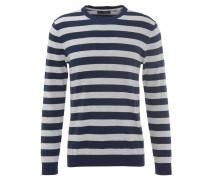 Pullover, Strick, Baumwolle, Streifen, Blau