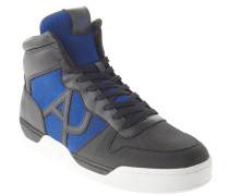 Sneaker, Materialmix, Leder-Besatz, hoher Schaft, Schwarz