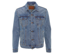 Jeansjacke, dezente Waschung, gerader Schnitt, Blau