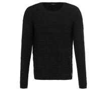 Pullover, Grobstrick, Streifen, Baumwolle, Schwarz