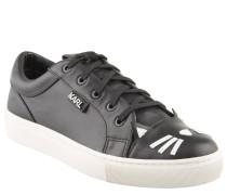 Sneaker, Katzen-Optik, Glattleder, Logo-Emblem, Schwarz