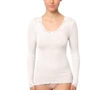 Shirt, nahtlos, Wollmix, Seide, Weiß